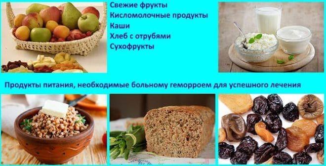 продукты питания, необходимые больному геморроем
